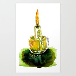 Candlight: A watercolor from the wild woods of Quebec, Canada Art Print