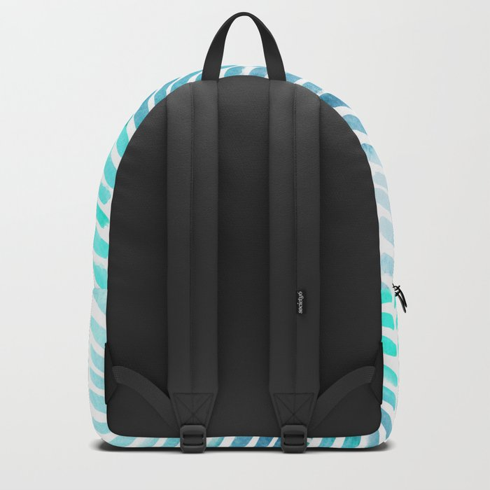 Handpainted Chevron pattern - light green and aqua - stripes #Society6 Backpack