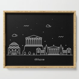 Athens Minimal Nightscape / Skyline Drawing Serving Tray