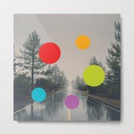 Road, Rain, Forest, Presences Metal Print