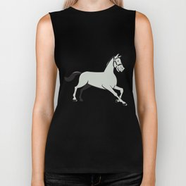 Horse Trotting Side Cartoon Isolated Biker Tank