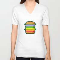 hamburger V-neck T-shirts featuring Pixel Hamburger by Sombras Blancas Art & Design