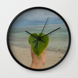 Heart on the beach picture Wall Clock