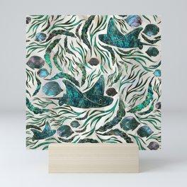 Stingray and Scat fish pattern Abalone Mini Art Print