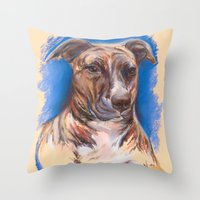 pit bull Throw Pillows featuring Brindle Pit Bull Portrait by M.M. Anderson Designs