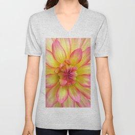Pink and Yellow Dahlia Flower / Nature Macro Photography Unisex V-Neck
