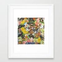 stickers Framed Art Prints featuring Pet Stickers by Deborah Landry