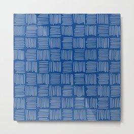 Prussian Blue Basketweave Pattern Metal Print