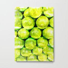 Bright Green Lime Pattern - For Fruit Lovers Metal Print