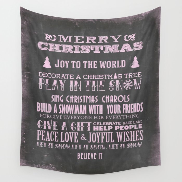Christmas Chalkboard.Pink Christmas Chalkboard Typography Quotes Wall Tapestry By Lebensart
