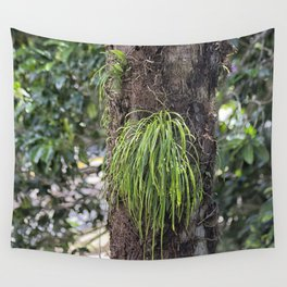 Epiphyte growth on tree in rainforest Wall Tapestry