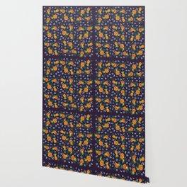 Dark Floral: Marigolds and Borage Wallpaper