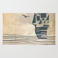 ship Area & Throw Rugs featuring Ship by Emily Rose Scott