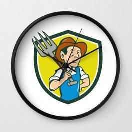 Farmer Holding Pitchfork Shoulder Crest Cartoon Wall Clock