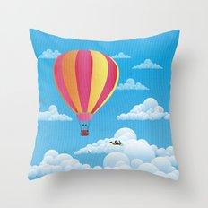 Picnic in a Balloon on a Cloud Throw Pillow