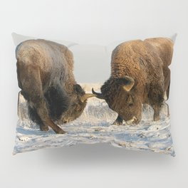 BISON FIGHTING Pillow Sham