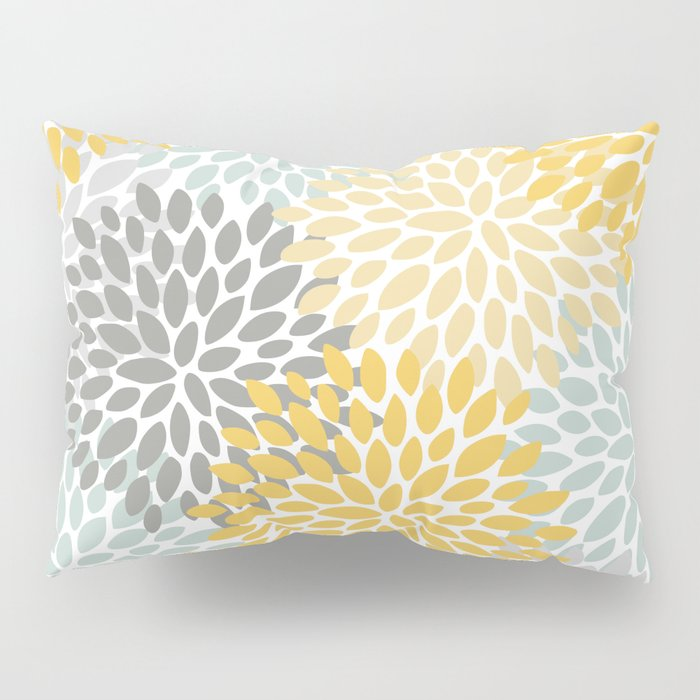 Floral Pattern, Yellow, Pale, Aqua, Blue and Gray Pillow Sham