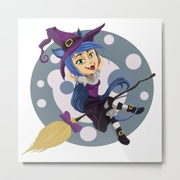 Smiling friendly witch flying on broom Metal Print