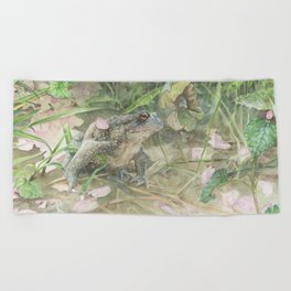 Toad with Cherry Blossom Petals Beach Towel