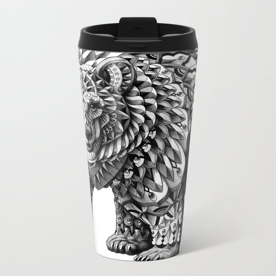 Ornate Bear Metal Travel Mug