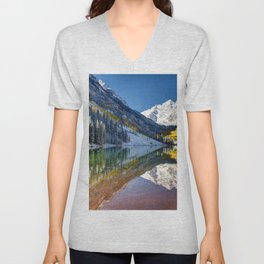 Maroon Bells Colorado Unisex V-Neck