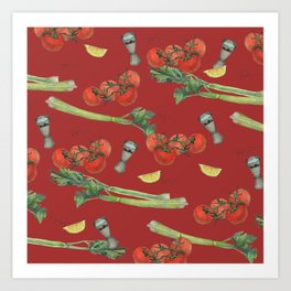 cocktail recipe pattern_ bloody mary Art Print