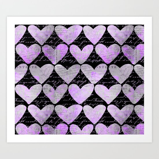 pink heart typography pattern Art Print