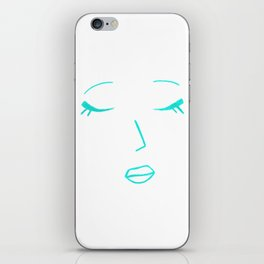 Teal Green Sleeping Beauty Minimalist Abstract Womankind Minimal Line Drawing Womans Face iPhone Skin
