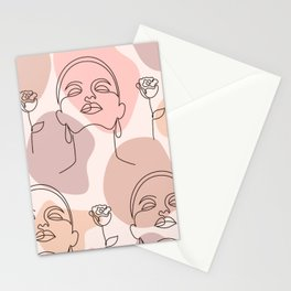 Dreaming Women With Roses   Abstract Modern  Stationery Cards
