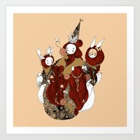 pagan Art Prints featuring pagan circle by Tina + Wolf