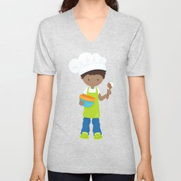 African American Boy, Baking Boy, Boy With Apron Unisex V-Neck