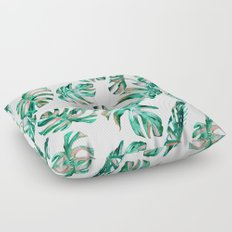 Green Coral Palm Leaves Floor Pillow