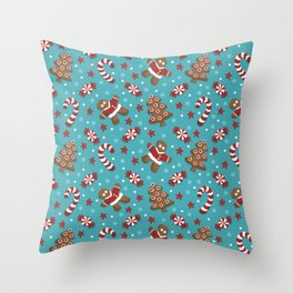 Cookies and Candycanes Blue Pattern Throw Pillow
