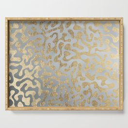 Modern elegant abstract faux gold silver pattern Serving Tray