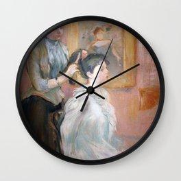 La Coiffure by Berthe Morisot Wall Clock