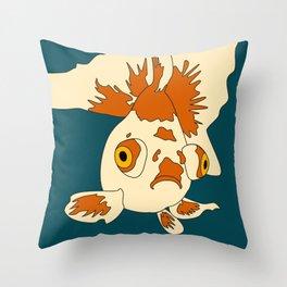 Orange and Cream Butterfly Telescope Goldfish Throw Pillow