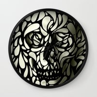 hello Wall Clocks featuring Skull by Ali GULEC