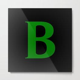 B MONOGRAM (GREEN & BLACK) Metal Print