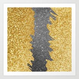 Modern gold black glitter brushstrokes glam design Art Print