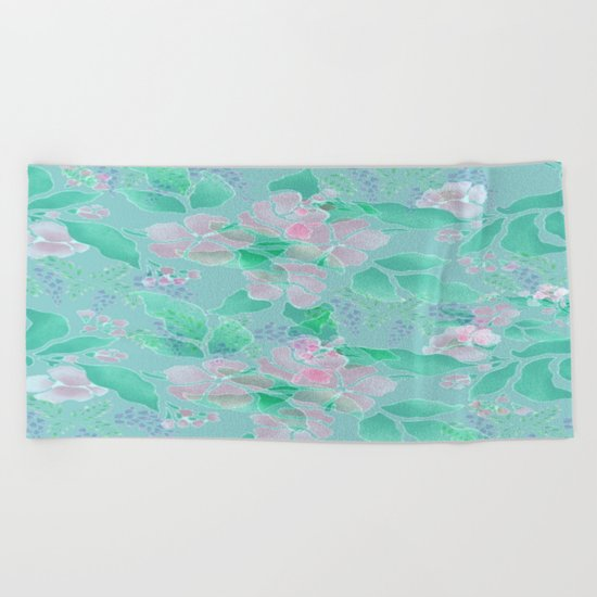 Soft Spring Floral Beach Towel
