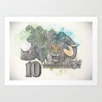 Tiger Elephant Rhino Art Print
