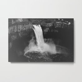 Palouse Falls Black and White Metal Print