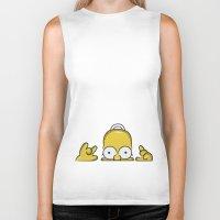 simpson Biker Tanks featuring Strange Homer Simpson by Yuliya L