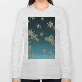 """MORE SNOW"" TEAL BLUE ART DESIGN Long Sleeve T-shirt"