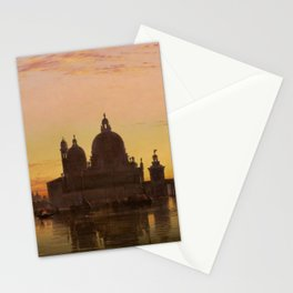 Venice Sunset at Santa Maria della Salute by Edwin William Cooke Stationery Cards