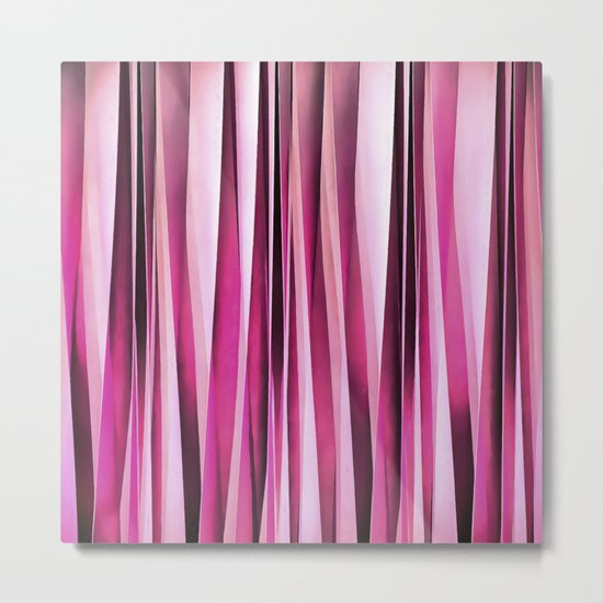 Rose Wine and Burgundy Stripy Lines Pattern Metal Print