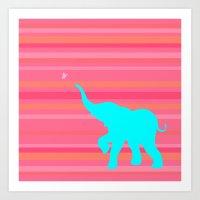 baby elephant Art Prints featuring Baby Elephant by StudioBlueRoom