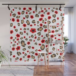 Romantic Leopard Print and Flowers on White Wall Mural