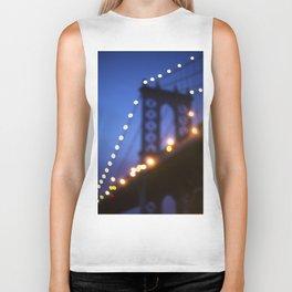 Manhattan Bridge at Night Biker Tank