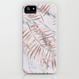 Rose gold palm fronds on marble iPhone Case